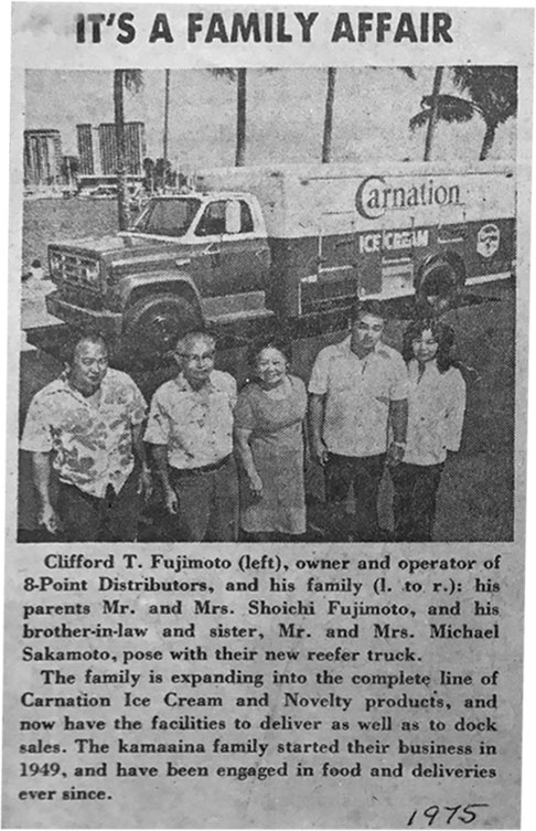 It's a family affair. Kamaaina families Fujimoto and Sakamoto pictured here in a news article showcasing their expansion into ice cream in 1975